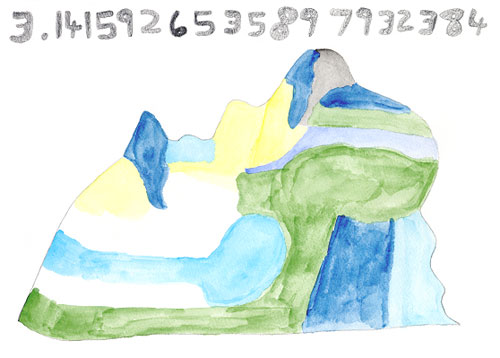 Figure 2: A drawing by savant Daniel Tammet on how he visualises the number Pi, the key to his quick calculations.
