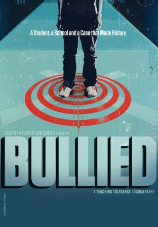 Bullied film flyer - target with a person standing on the bull's eye
