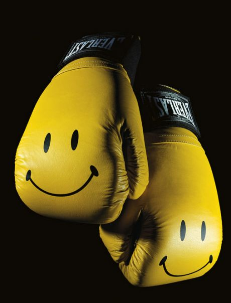 Smiley face boxing gloves