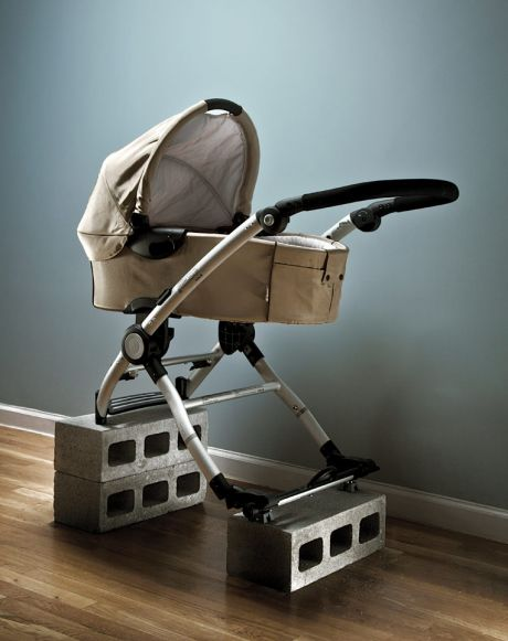 Baby carriage on blocks