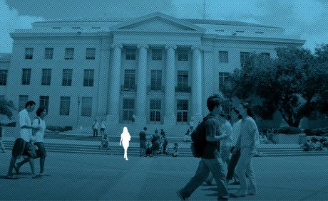 Outline of a woman on campus at Berkeley